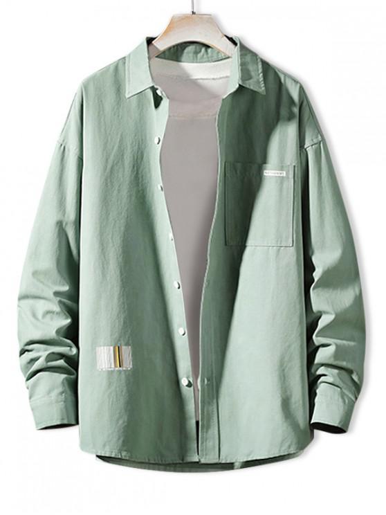 shops Solid Color Chest Pocket Letter Print Button Basic Shirt - DARK TURQUOISE S