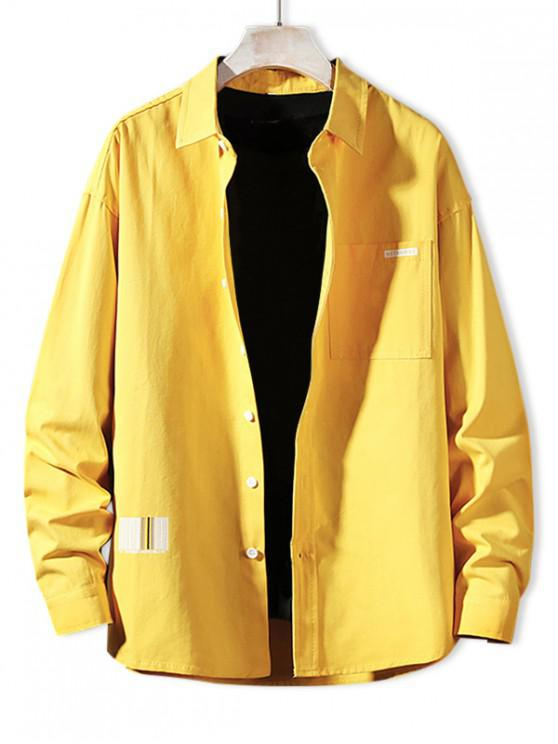 latest Solid Color Chest Pocket Letter Print Button Basic Shirt - BRIGHT YELLOW XL