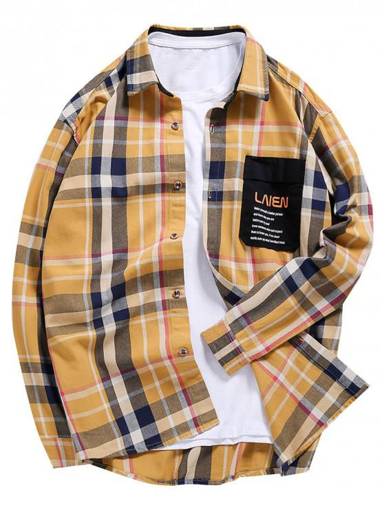 women's Letter Print Spliced Contrast Trim Pocket Plaid Shirt - MULTI 2XL