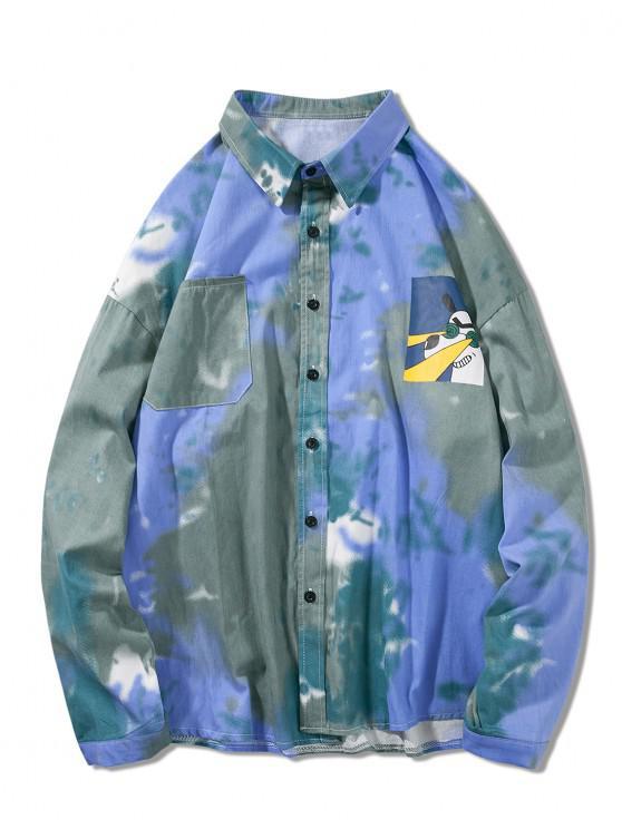 chic Cartoon Animal Print Tie Dye Pocket Long Sleeve Shirt - DODGER BLUE M