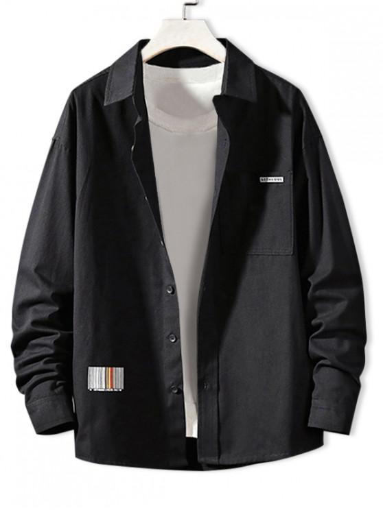 sale Solid Color Chest Pocket Letter Print Button Basic Shirt - BLACK XL
