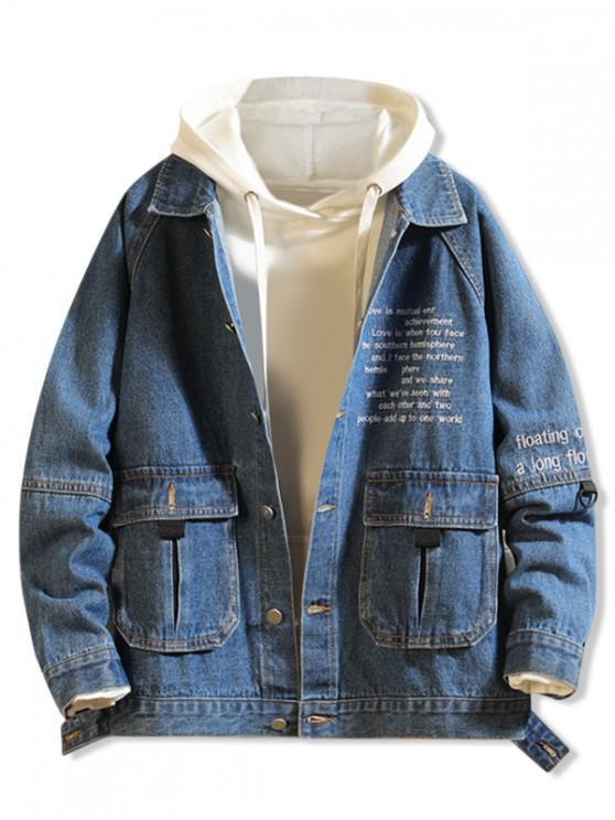 trendy Letter Embroidery Flap Pocket Raglan Sleeve Jean Jacket - DENIM DARK BLUE XS