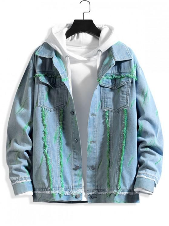 chic Fringe-trim Scratch Chest Pocket Ripped Jean Jacket - TURQUOISE XS