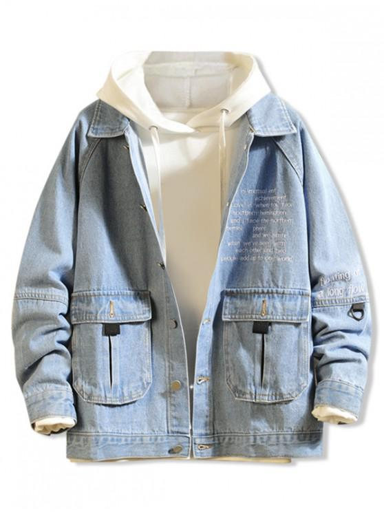 fancy Letter Embroidery Flap Pocket Raglan Sleeve Jean Jacket - LIGHT BLUE M