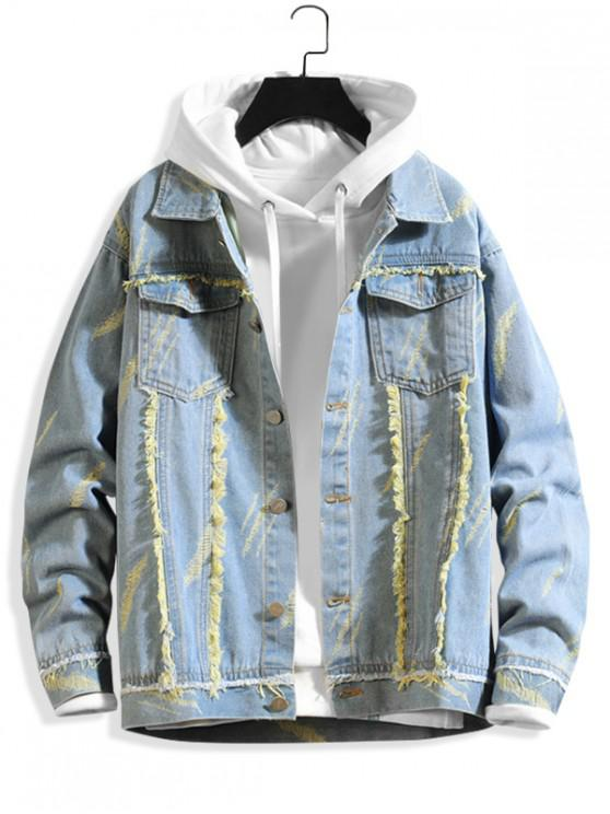 hot Fringe-trim Scratch Chest Pocket Ripped Jean Jacket - SUN YELLOW S