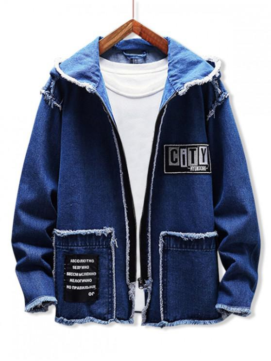 women's Fringe-trim Applique Letter Graphic Hooded Jean Jacket - DENIM DARK BLUE M