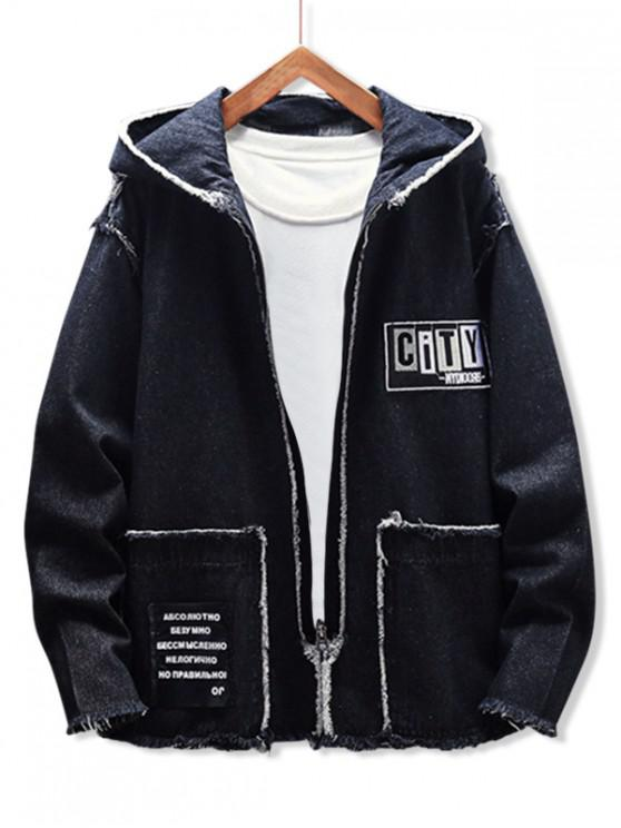 outfit Fringe-trim Applique Letter Graphic Hooded Jean Jacket - BLACK XS