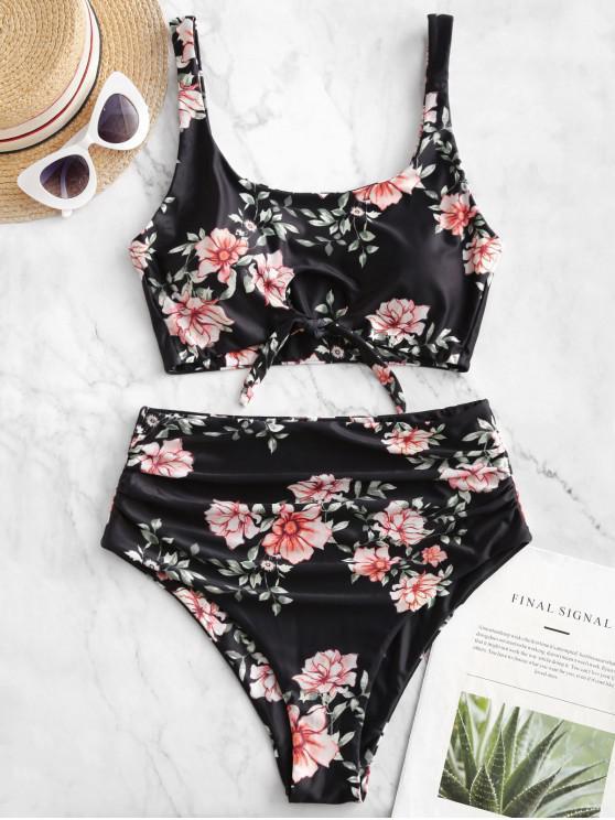 women ZAFUL Flower Keyhole Tied Tummy Control Tankini Swimsuit - BLACK XL