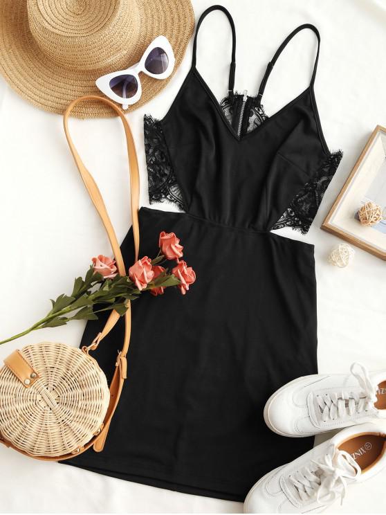 new ZAFUL Lace Insert Cut Out Bodycon Dress - BLACK XL