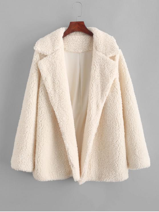 affordable ZAFUL Open Faux Shearling Fluffy Teddy Coat - APRICOT M