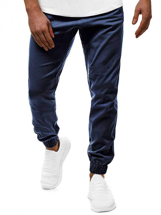 womens Contrast Drawstring Pockets Casual Jogger Pants - CADETBLUE S