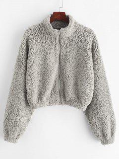 ZAFUL Drop Shoulder Zip Up Teddy Coat - Gray Cloud S