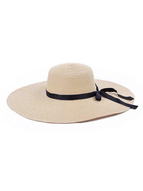 unique Bowknot Decorate Solid Straw Sun Floppy Hat - BEIGE  Mobile