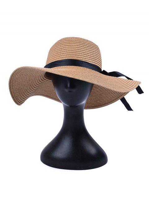sale Bowknot Decorate Solid Straw Sun Floppy Hat - LIGHT KHAKI  Mobile