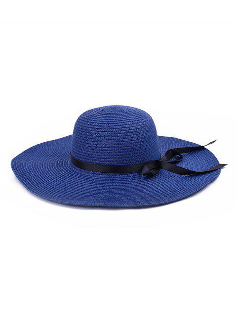 affordable Bowknot Decorate Solid Straw Sun Floppy Hat - CADETBLUE  Mobile