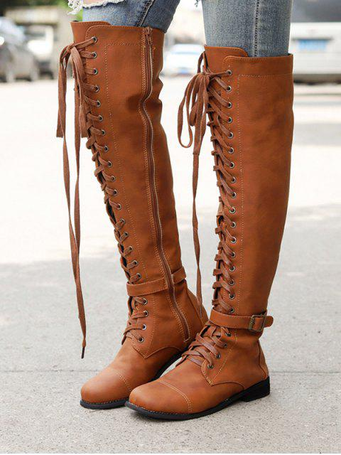 ladies Low Heel Leather Thigh High Knight Boots - BROWN EU 36 Mobile