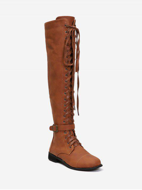 fancy Low Heel Leather Thigh High Knight Boots - BROWN EU 42 Mobile