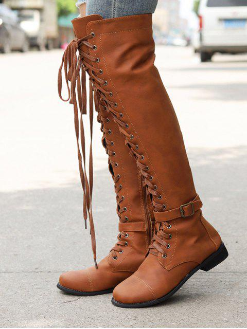 women Low Heel Leather Thigh High Knight Boots - BROWN EU 37 Mobile