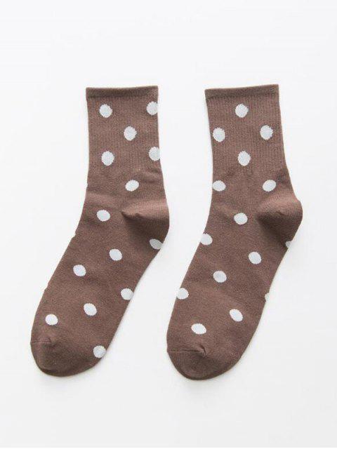 women's Polka Dot Crew Length Socks - COFFEE  Mobile