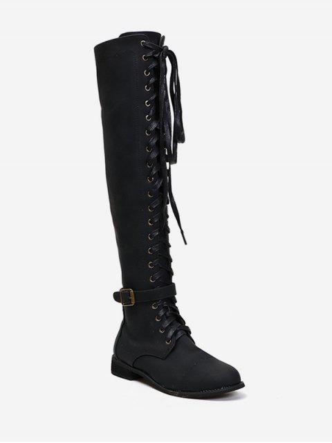 new Low Heel Leather Thigh High Knight Boots - BLACK EU 43 Mobile