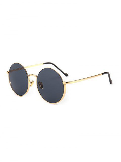 sale Vintage Round Metal Anti UV Sunglasses - BLACK  Mobile