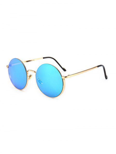 Lunettes de Soleil Anti-UV Rondes Vintages en Métal - Bleu  Mobile
