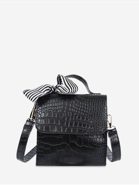 復古紋理設計斜挎包 - 黑色  Mobile