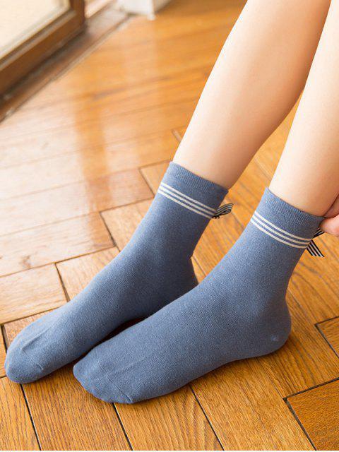 fancy Bowknot Striped Design Floor Socks - BLUE IVY  Mobile