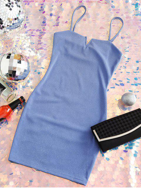 ZAFUL Robe Moulante à Bretelles Col en V à Paillettes - Bleu de Ciel  S Mobile