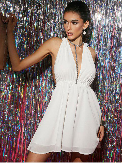 outfit ZAFUL Cross Backless Chiffon Plunge Cocktail Dress - WHITE S Mobile