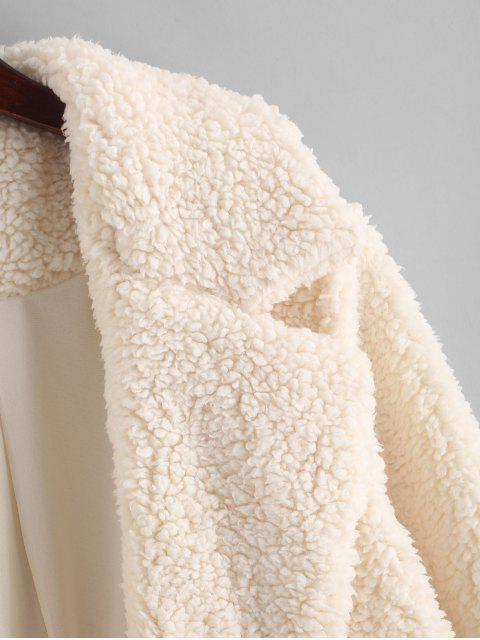 outfits ZAFUL Open Faux Shearling Fluffy Teddy Coat - APRICOT S Mobile