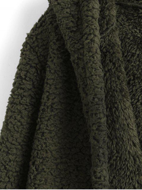 條紋下擺口袋連帽人造毛皮大衣 - 軍綠色 S Mobile