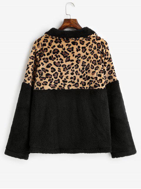 豹紋袋鼠口袋人造毛皮運動衫 - 黑色 S Mobile