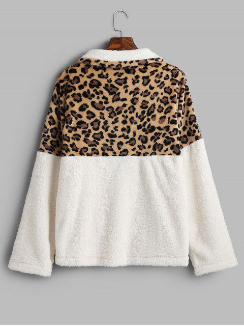 Sudadera de piel sintética con bolsillo de canguro con estampado de leopardo - Blanco M Mobile