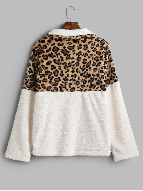 豹紋袋鼠口袋人造毛皮運動衫 - 白色 L Mobile