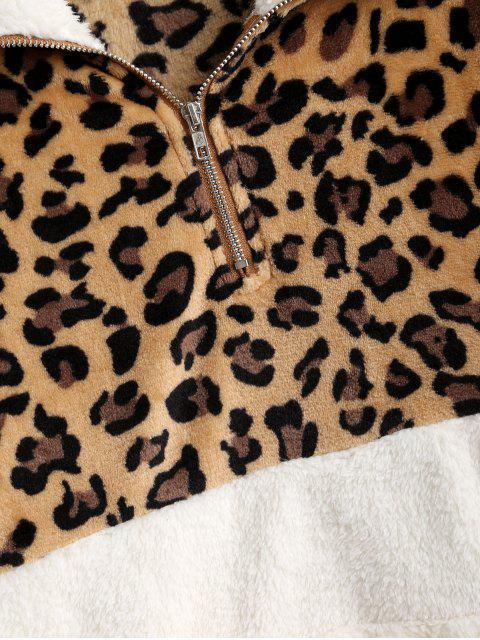 豹紋袋鼠口袋人造毛皮運動衫 - 白色 XL Mobile