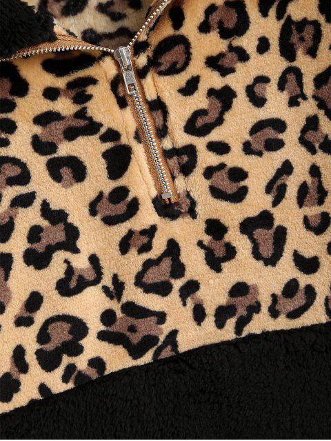 豹紋袋鼠口袋人造毛皮運動衫 - 黑色 L Mobile