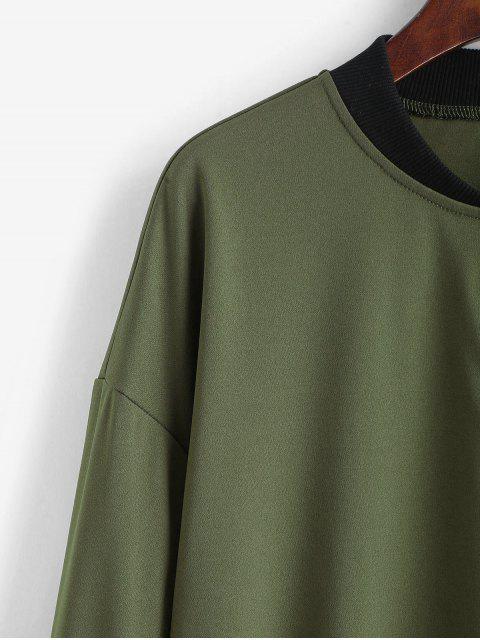 fancy ZAFUL Drop Shoulder Zipper Baseball Jacket - ARMY GREEN M Mobile