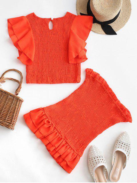 fancy Neon Ruffle Smocked Two Piece Dress - BRIGHT ORANGE M Mobile