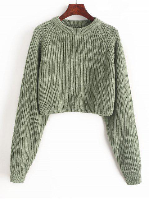 Jersey de punto corto con manga raglán de ZAFUL - Verde de Mar  M Mobile