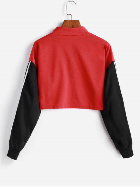 outfits Zipper Drop Shoulder Striped Tape Two Piece Gym Set - MULTI-A L Mobile