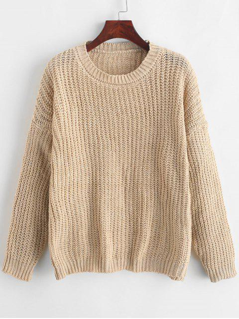 fashion Plain Drop Shoulder Pullover Sweater - BEIGE ONE SIZE Mobile