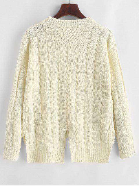 fancy Pullover Square High Low Slit Sweater - WHITE ONE SIZE Mobile