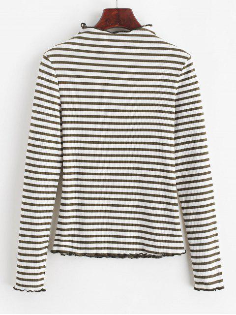 outfits ZAFUL Striped Lettuce Trim Mock Neck T-shirt - WHITE M Mobile