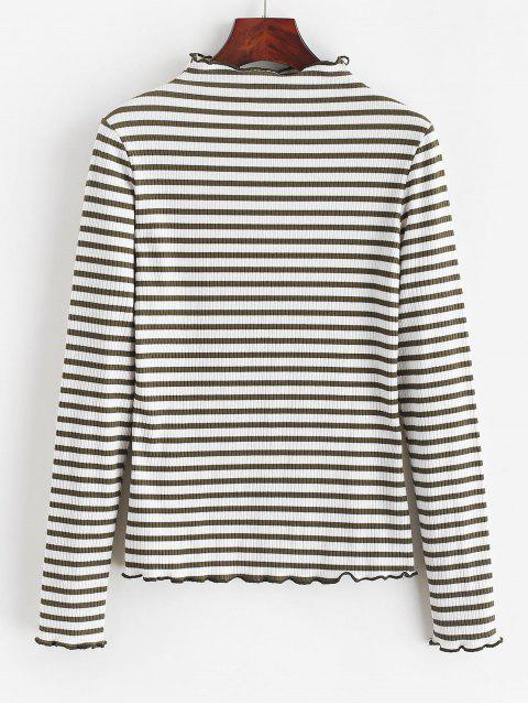 shop ZAFUL Striped Lettuce Trim Mock Neck T-shirt - WHITE S Mobile