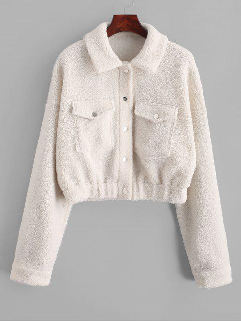 ladies ZAFUL Snap Button Front Flap Pockets Teddy Jacket - WHITE S Mobile