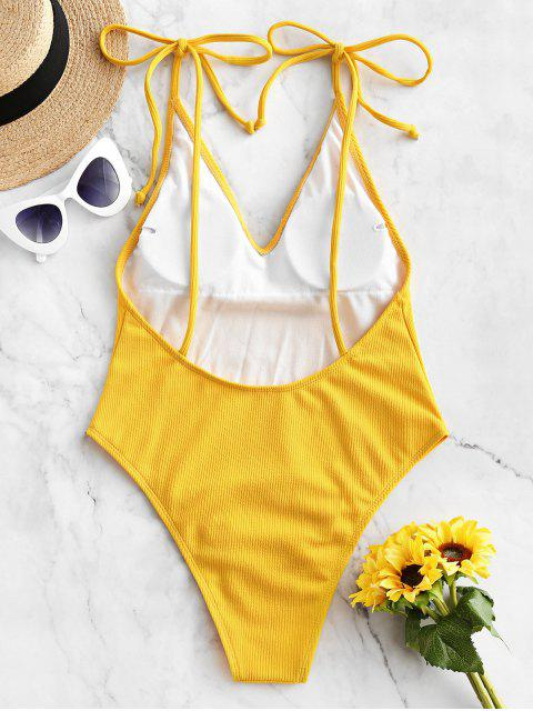 buy ZAFUL Tie Ribbed High Cut One-piece Swimsuit - BRIGHT YELLOW XL Mobile