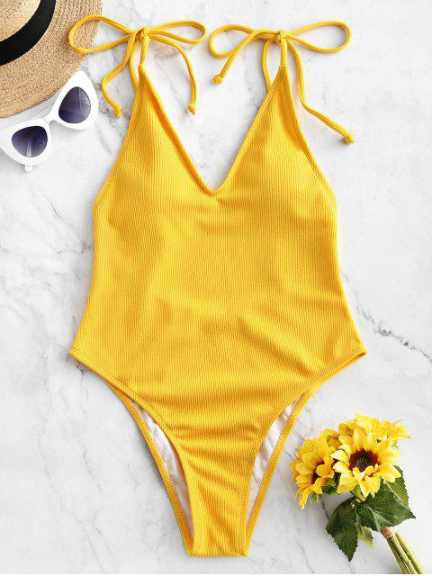 latest ZAFUL Tie Ribbed High Cut One-piece Swimsuit - BRIGHT YELLOW S Mobile