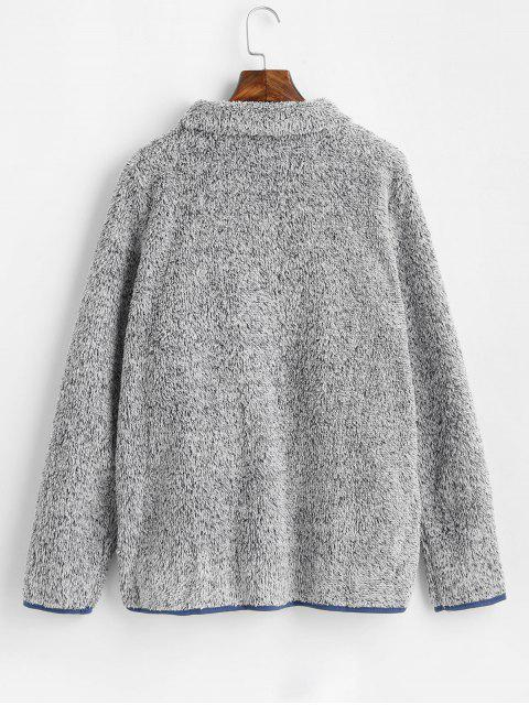 online Turtleneck Heathered Faux Fur Sweatshirt with Pockets - GRAY M Mobile