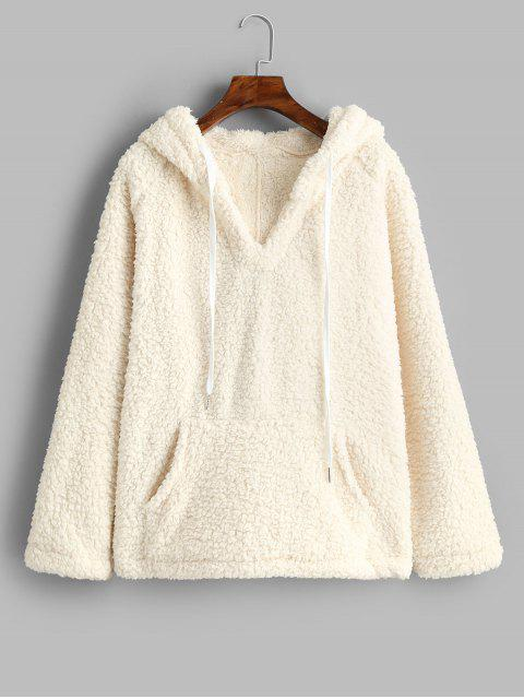 fashion Solid Color Drawstring Fluffy Hoodie with Pockets - WHITE S Mobile